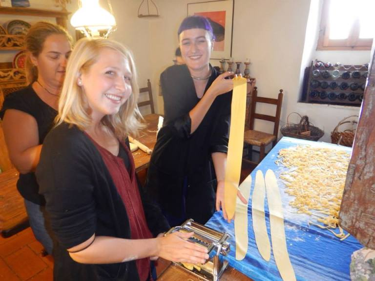 Natalie and Maddie making pasta. Photo credit Joey Navedo